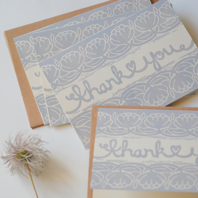 Thank You Card Bundle Block Printed By Hand