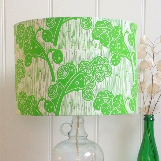 Honesty Green Block Printed Lampshade