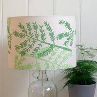 Mimosa Leaf Green Block Printed Lampshade