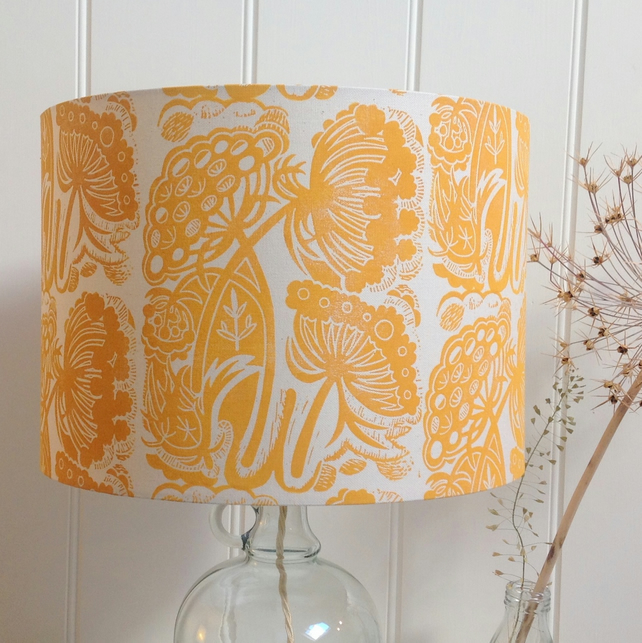 Queen Anne's Lace Block Printed Lampshade