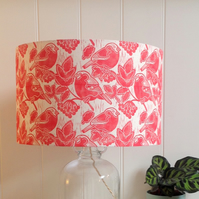 Bullfinches & Berries Block Printed Lampshade