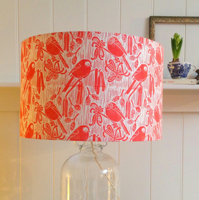 Long-tailed Tits Block Printed Lampshade
