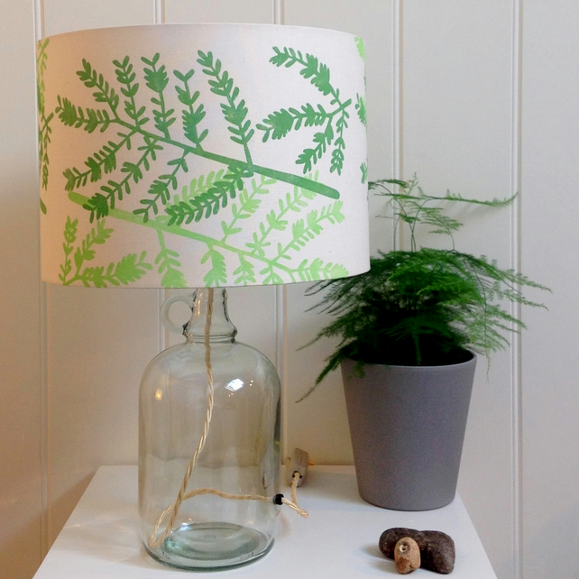 Mimosa Leaf Green Glass Bottle Table Lamp
