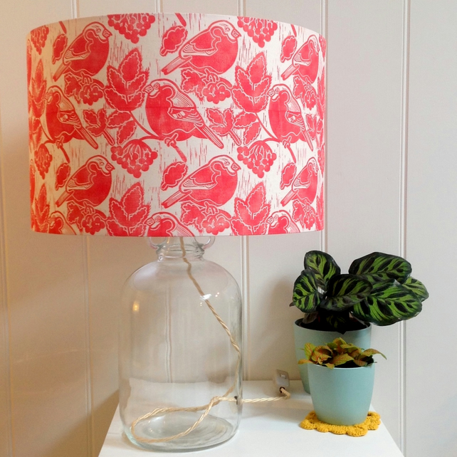 Bullfinches & Berries Glass Bottle Table Lamp
