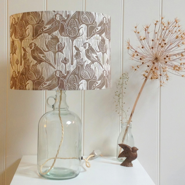 Goldfinches & Teasel Glass Bottle Table Lamp