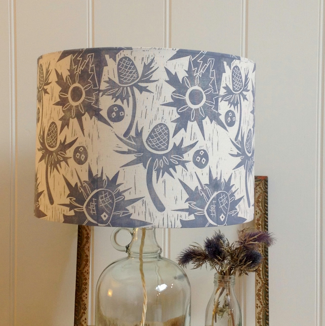 Sea Holly Block Printed Lampshade