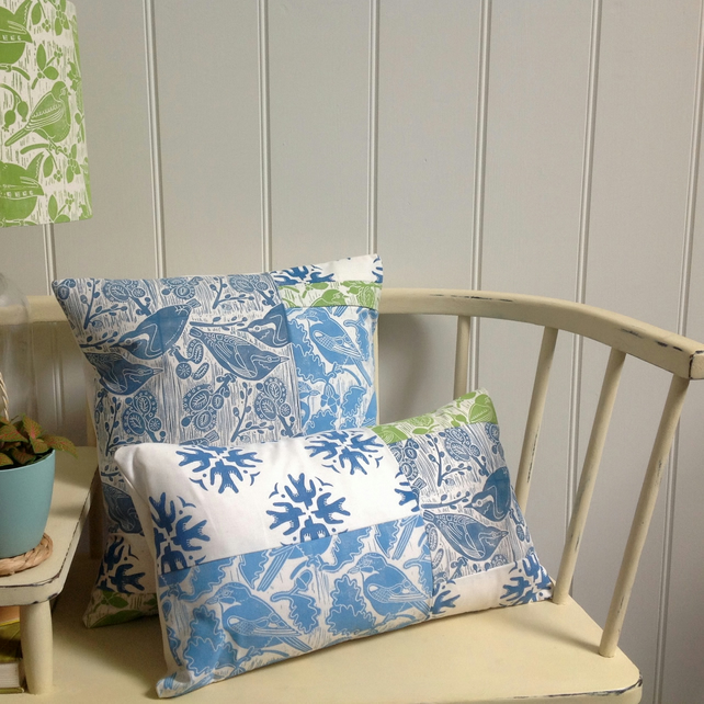A Pair - Blue & Green Patchwork Cushions