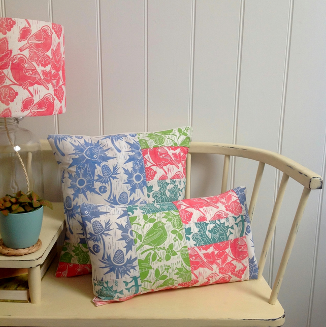 A Pair - Pink & Green Patchwork Cushions