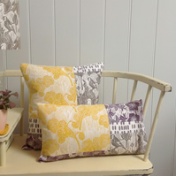 A Pair - Yellow & Taupe Patchwork Cushions