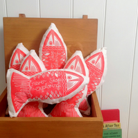 Fish Block Printed Cushion