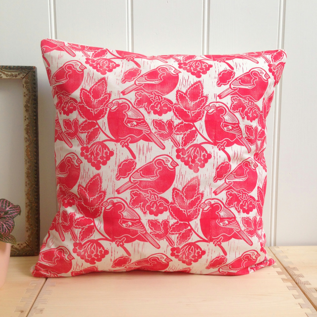 "Bullfinches & Berries Block Printed 18"" Cushion"