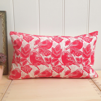 "Bullfinches & Berries Block Printed 20"" x 12"" Cushion"