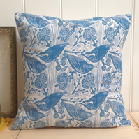 "Nuthatches & Willow Block Printed 18"" Cushion"