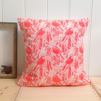 "Long-tailed Tits Block Printed 18"" Cushion"