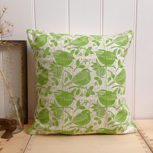 "Robin & Wren Block Printed 18"" Cushion"