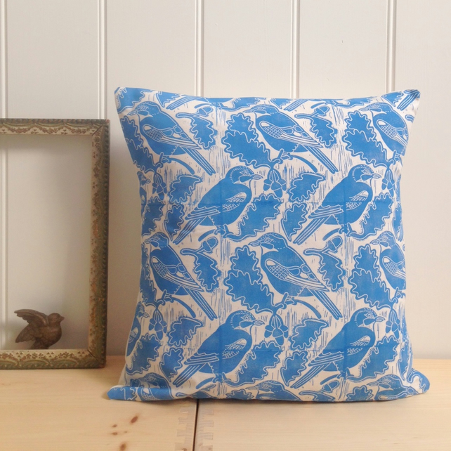"Jays & Acorns Block Printed 18"" Cushion"