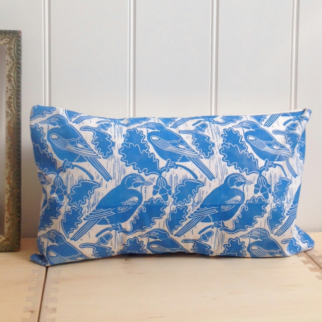 "Jays & Acorns Block Printed 20"" x 12"" Cushion"