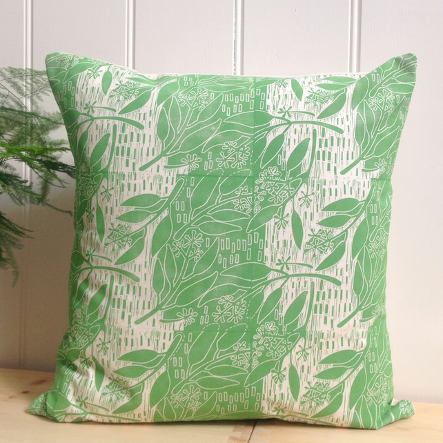 "Eucalyptus Block Printed 18"" Cushion"