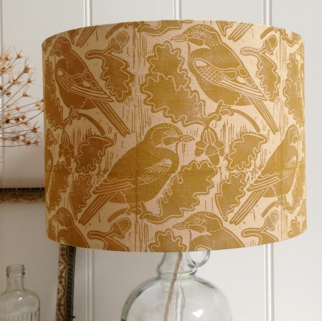Naturally Dyed & Block Printed Jays and Acorns Lampshade