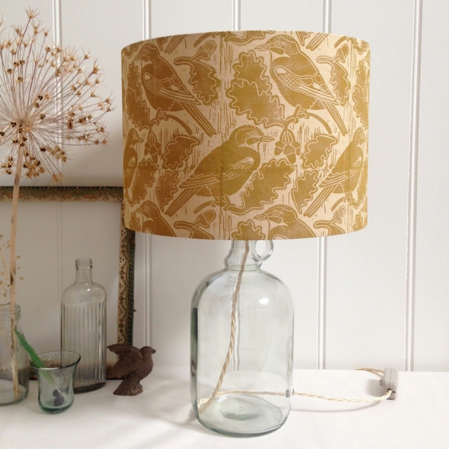 Naturally Dyed & Block Printed Jays and Acorns Glass Bottle Lamp