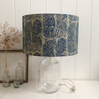 Naturally Dyed & Block Printed Queen Anne's Lace Glass Bottle Lamp