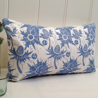 "Sea Holly Block Printed 20"" x 12"" Cushion"