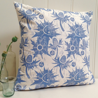 "Sea Holly Block Printed 18"" Cushion"