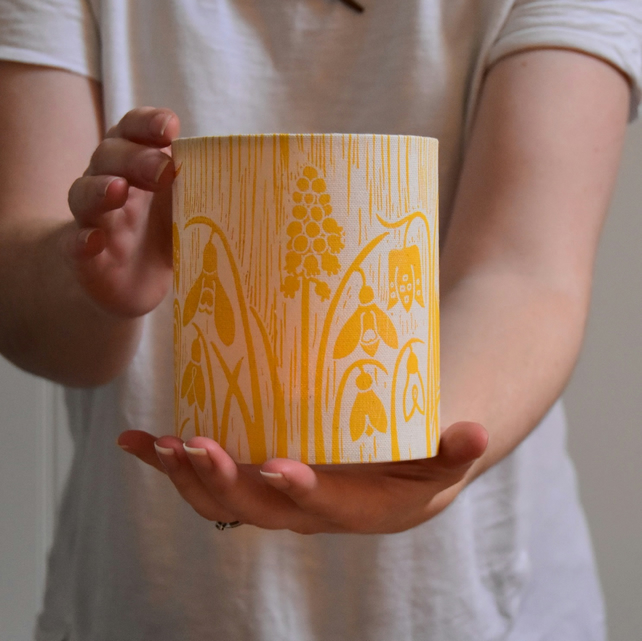 Yellow Spring Flowers Lantern Block Printed By Hand