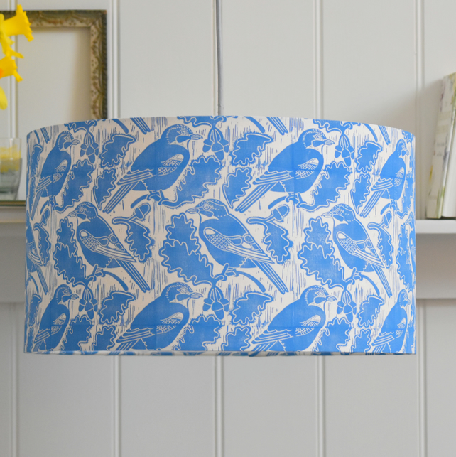 Jays & Acorns Block Printed Ceiling Drum