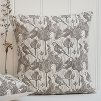 "Goldfinches & Teasel Block Printed 18"" Cushion"