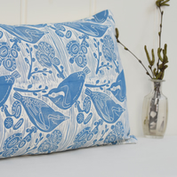 "Nuthatches & Willow Block Printed 20"" x 12"" Cushion"