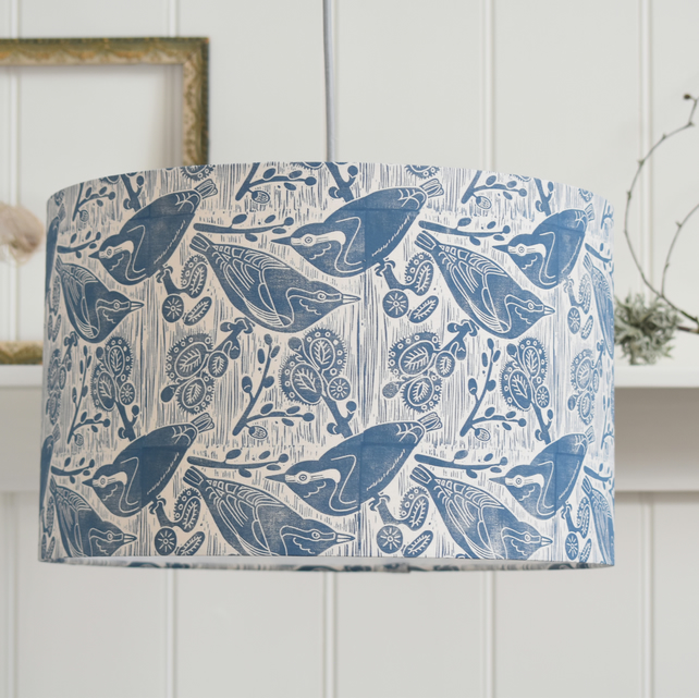 Nuthatches & Willow Block Printed Lampshade
