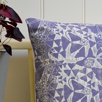 "Oxalis Block Printed 18"" Cushion"