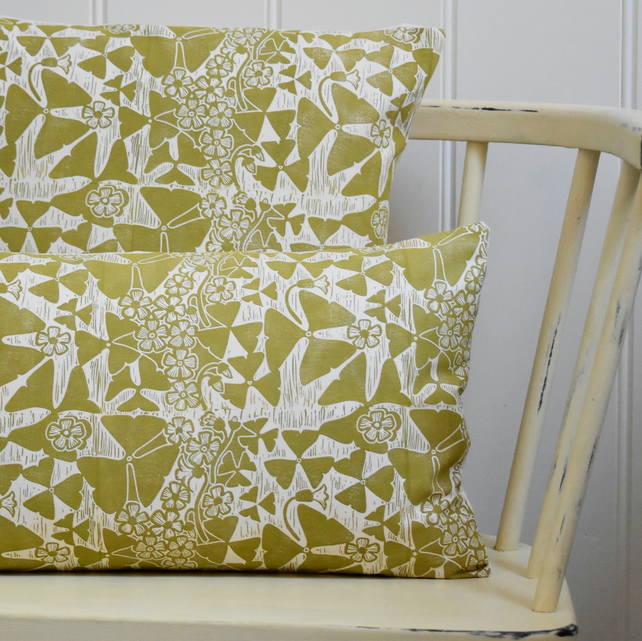 "Oxalis Block Printed 20"" x 12"" Cushion"