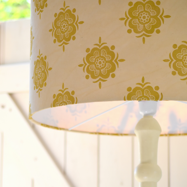 Speedwell - Botanically dyed & Block Printed Lampshade