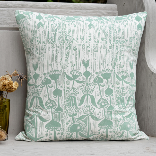 "Phlomis Block Printed 18"" Cushion"