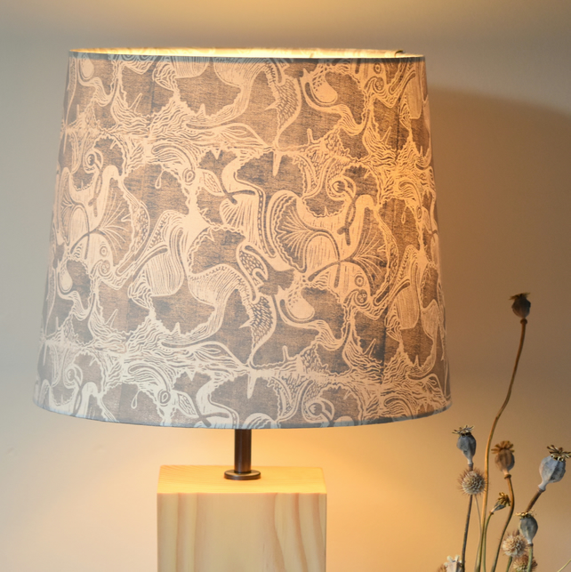 Ginkgo Block Printed Lampshade and Handcrafted Wooden Base