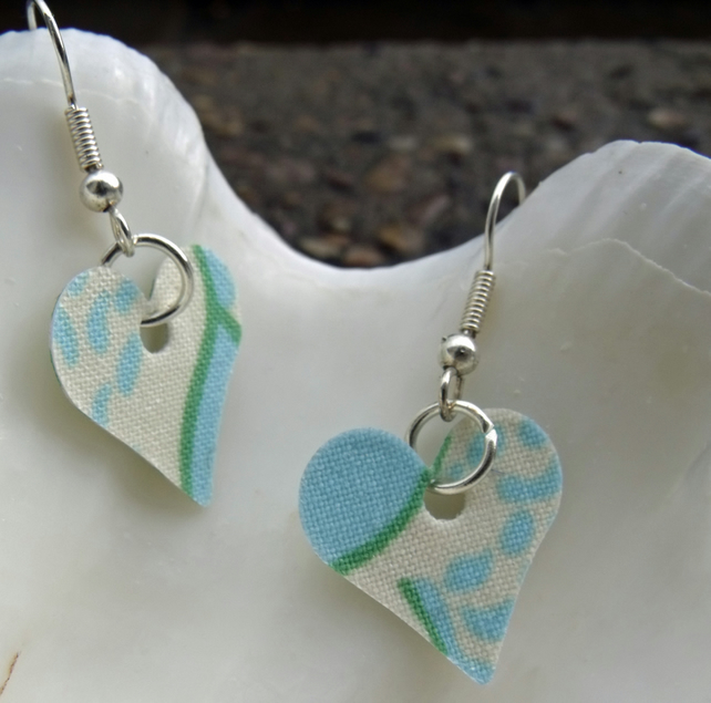 Hardened Green Swirl Heart Earrings