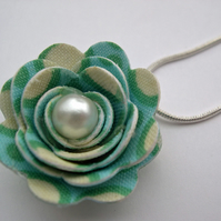 Hardened Fabric Aqua Circle Print Rose Necklace