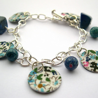 Hardened Fabric Blue Floral Ditsy Print Charm Bracelet with Semi Precious Stones
