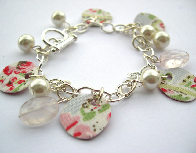Hardened Fabric Floral Ditsy Print Charm Bracelet with Rose Quartz
