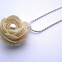 Hardened Cream Satin Damask Wedding Bridesmaid  Rose Necklace with Faux Pearl