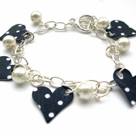 Hardened Fabric Navy heart Polka Print Charm Bracelet With Faux Pearls gift