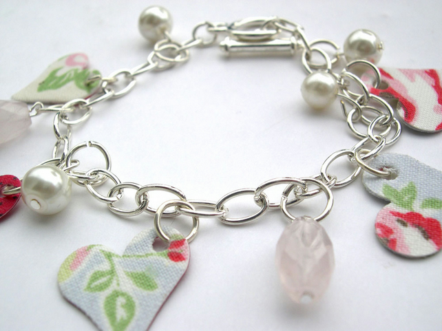 Hardened Fabric Floral Print Charm Bracelet with Rose Quartz Stones