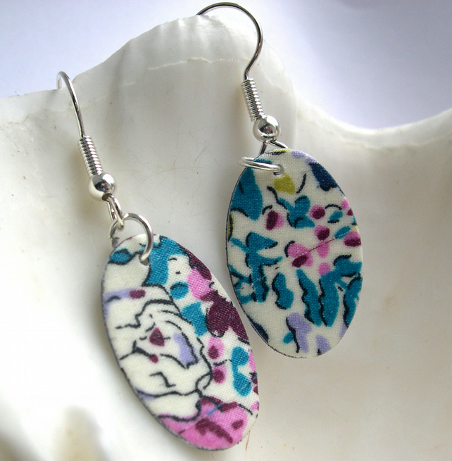Hardened Ditsy Liberty of London Print Oval Earrings