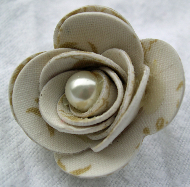 Hardened Neutral Print Fabric Rose Brooch
