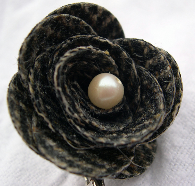 Hardened Herringbone Woven Fabric Rose Brooch