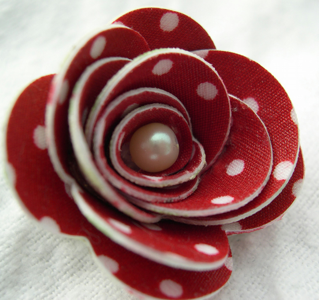 Hardened Fabric Floral and Red Polka Dot Rose Brooch