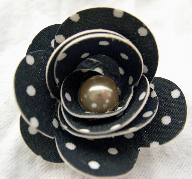 Hardened Fabric Navy Polka Dot Rose Brooch