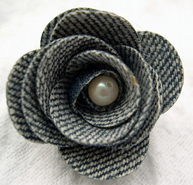 Hardened Fabric Light Denim Rose Brooch